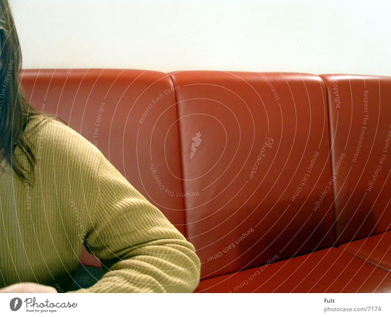 sweater Sweater Lounges Cloth Leather Style Textiles Woman Long-haired Wall (building) Human being Bench Hair and hairstyles Detail Arm Sit Wait Loneliness