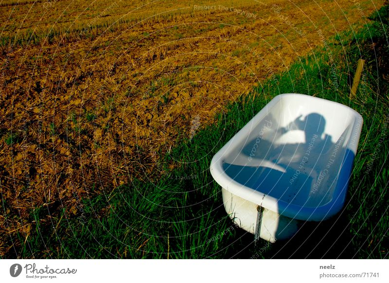 Outdoor Pool II Bathtub Field Meadow Clouds Green Autumn Bathroom White Photographer heaven Thunder and lightning Blue Harvest Shadow Exterior shot
