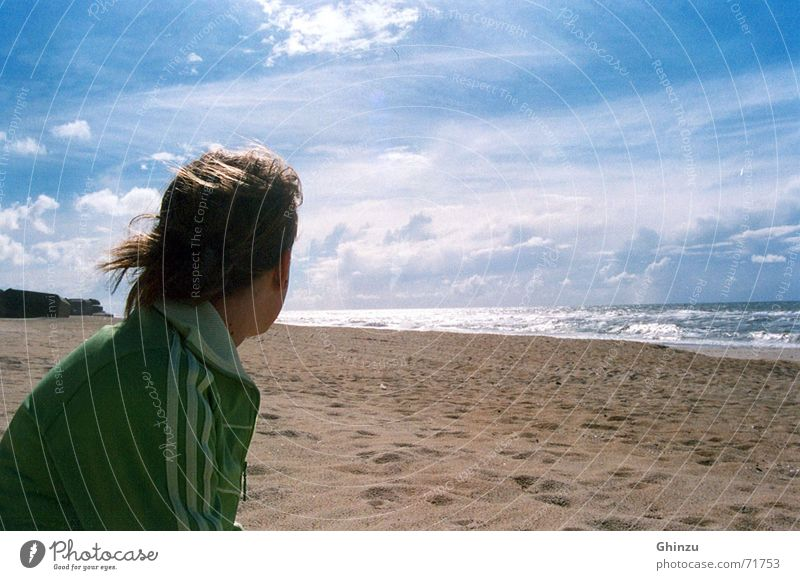 Sun on the beach Beach Ocean Girl Thought Infinity Miss Green Brown Clouds Longing Grief Distress Summer Coast sun Sky heaven Free Think Looking watch watching