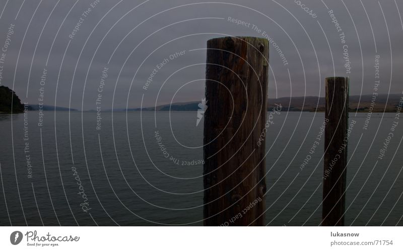 somber Dark Lake Dock Fog bay Fjord Thunder and lightning Rain Evening Pole