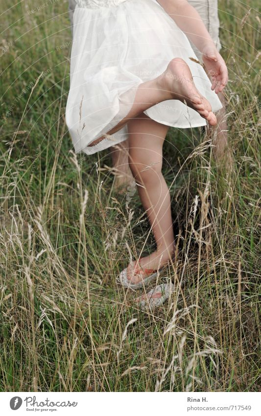 This stings! [ III ] Human being Girl 3 - 8 years Child Infancy Environment Nature Summer Grass Meadow Dress Flip-flops Stand Green White Joy
