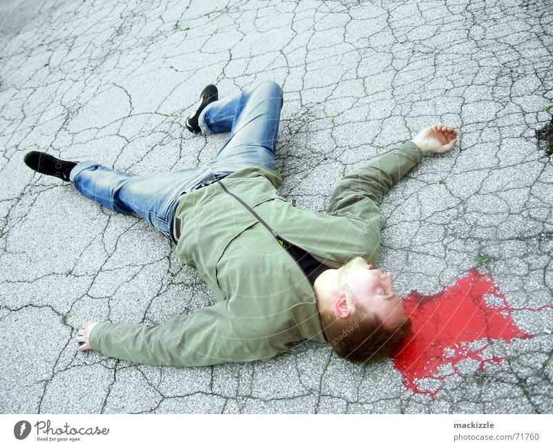 watch your back Accident Fate Street art Floor covering Death Blood Murder Guy Disaster Body Wound