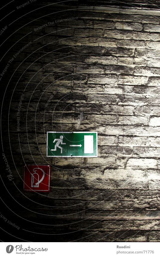 that way Direction Way out Emergency exit Wall (barrier) Wall (building) Extinguisher Signage Tin Old building Mine Rescue Masonry Dismantling