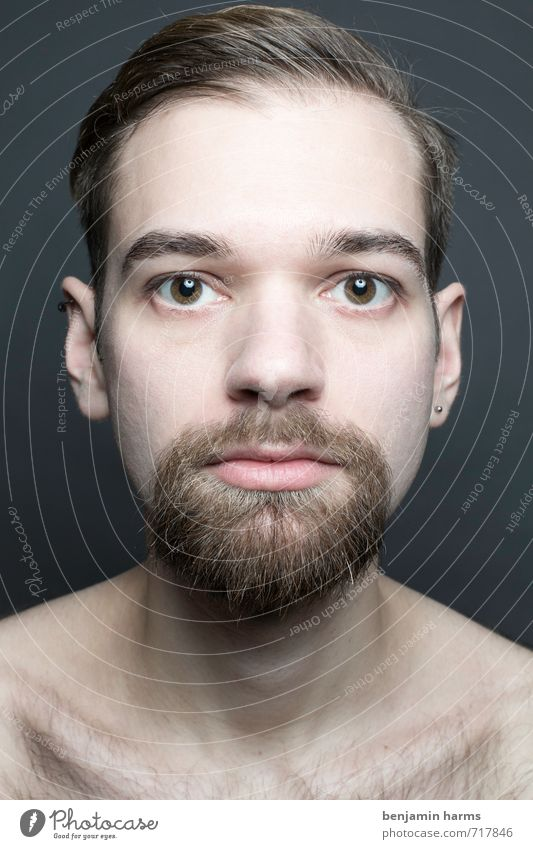 change #1 Masculine Young man Youth (Young adults) Head Human being 18 - 30 years Adults Brunette Part Facial hair Beard Change Colour photo Studio shot