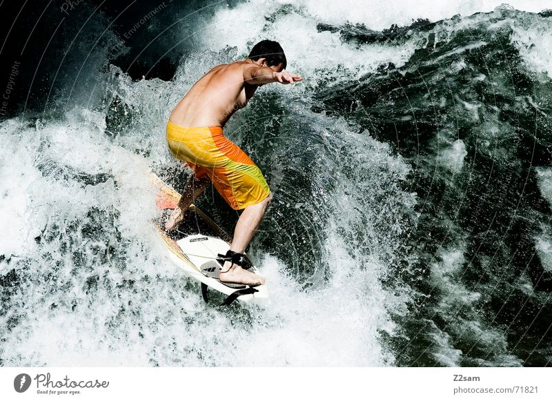 Human being Man Water Green Winter Sports Cold Jump Style Contentment Waves Drops of water Wet Action Modern Electricity