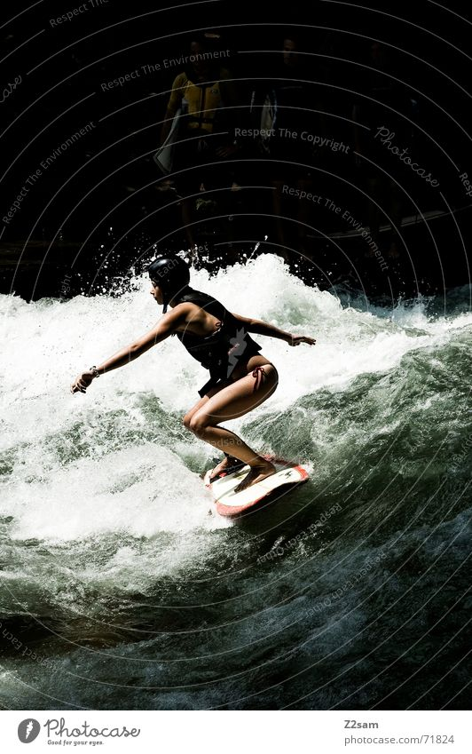 Woman Human being Man Water Green Winter Sports Cold Style Movement Contentment Waves Wet Drops of water Action Modern
