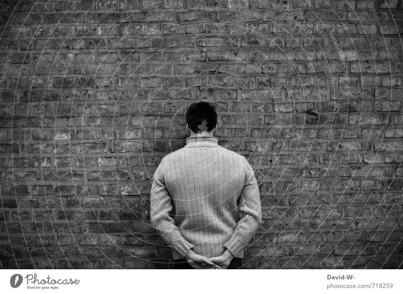 Human being Youth (Young adults) Man 18 - 30 years Black Dark Cold Adults Wall (building) Sadness Death Wall (barrier) Gray Stone Moody Fear