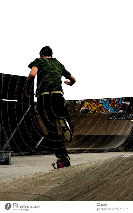 running skater Skateboarding Sports ground Ramp Halfpipe Left Hundred-metre sprint Movement Dynamics Walking Running grafiti Cool (slang) man