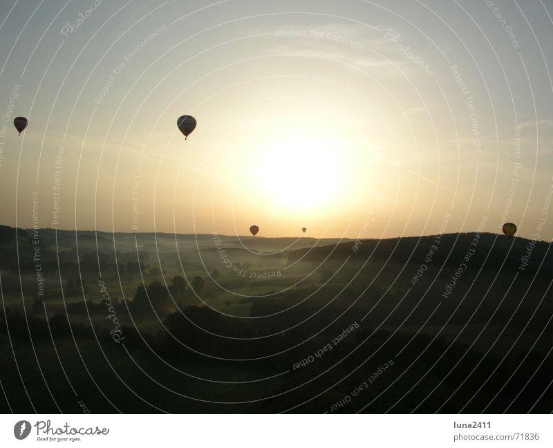 Sky Sun Landscape Fog Stairs Driving Floor covering Hot Air Balloon Fog bank Balloon flight Ground fog