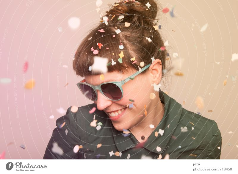 having fun Party Feasts & Celebrations Carnival Birthday Human being Woman Adults Sunglasses Movement Smiling Laughter Happiness Happy Cute Wild Multicoloured