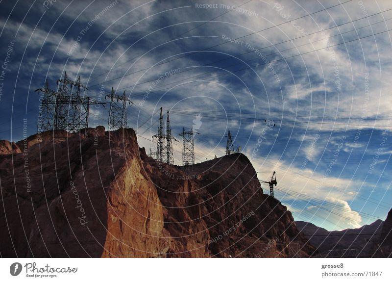 Mountain Desert Electricity pylon Blue sky Nevada Las Vegas Hoover Dam