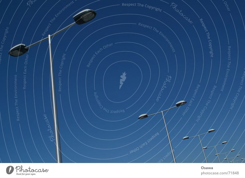 Sky Blue Perspective Lantern Diagonal Row Street lighting Sky blue Parking level Organ pipe