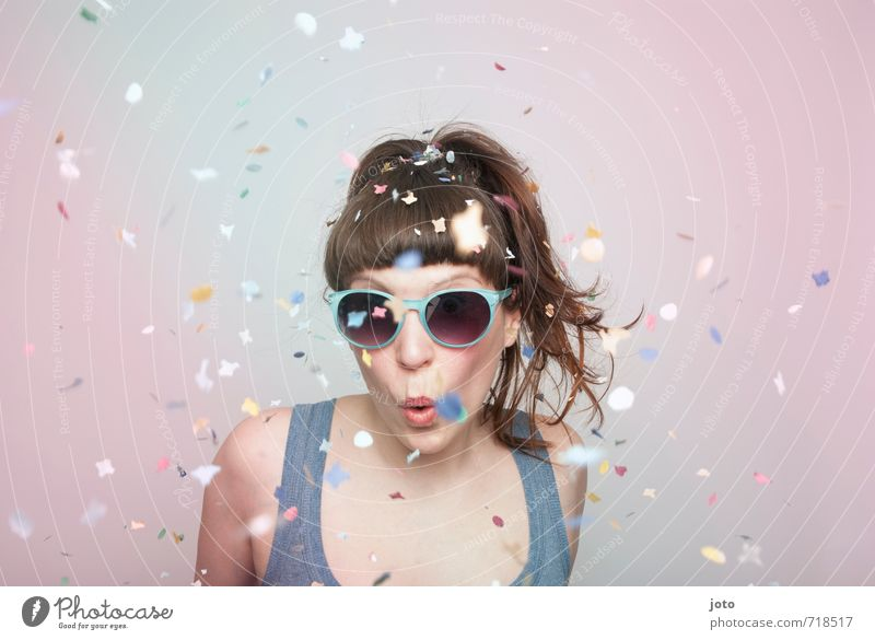party time Joy Party Feasts & Celebrations New Year's Eve Birthday Human being Young woman Youth (Young adults) Woman Adults Sunglasses Brunette Bangs Movement