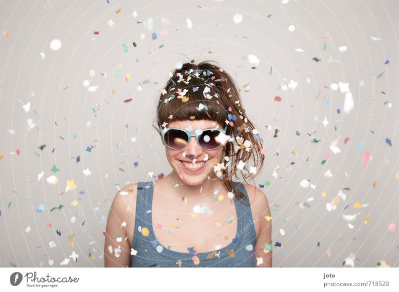 I feel good! Party Feasts & Celebrations Carnival New Year's Eve Birthday Human being Woman Adults Sunglasses Smiling Brash Hip & trendy Positive Wild