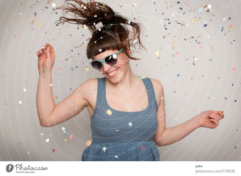I feel like dancing Joy Happy Party Feasts & Celebrations Dance Carnival New Year's Eve Birthday Human being Woman Adults Sunglasses Movement Smiling Laughter