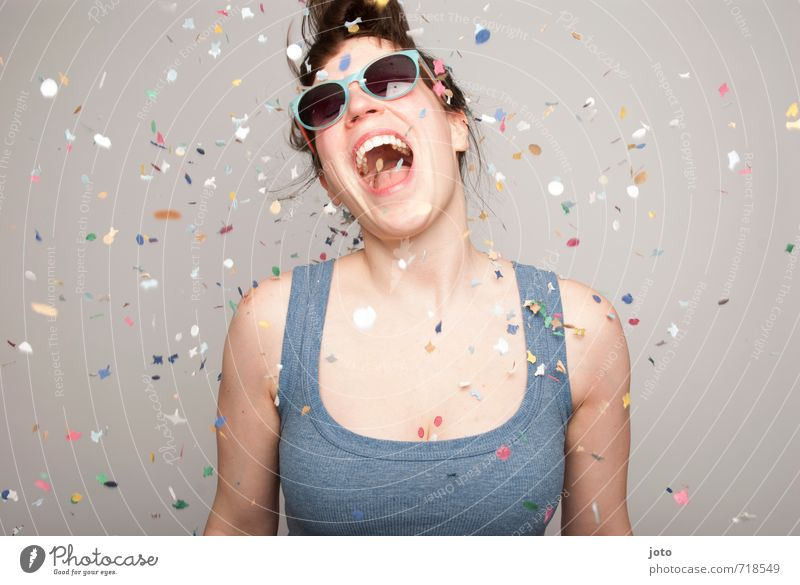 All I want is celebrate! Party Feasts & Celebrations Dance Carnival New Year's Eve Birthday Human being Woman Adults Sunglasses Movement Laughter Free Happiness