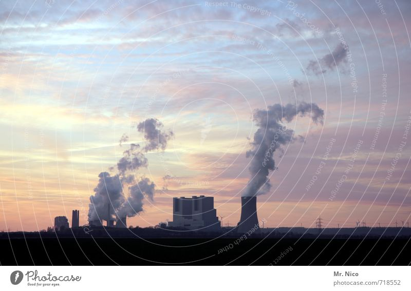 Sky Landscape Clouds Environment Work and employment Energy industry Climate Industrial Photography Factory Manmade structures Smoke Chimney Exhaust gas Climate change Environmental pollution Industrial plant