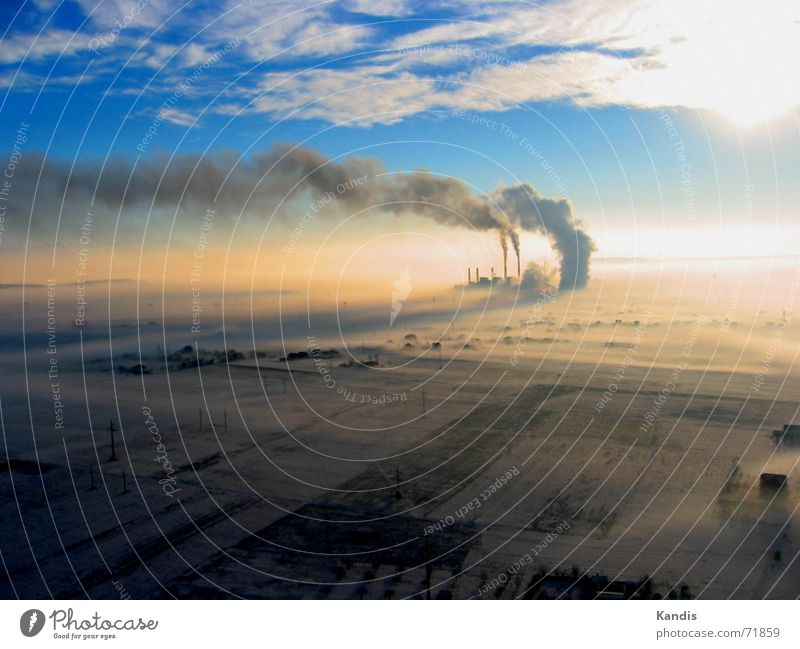Clouds Sunrise Smoke Chimney Electricity generating station Coal power station