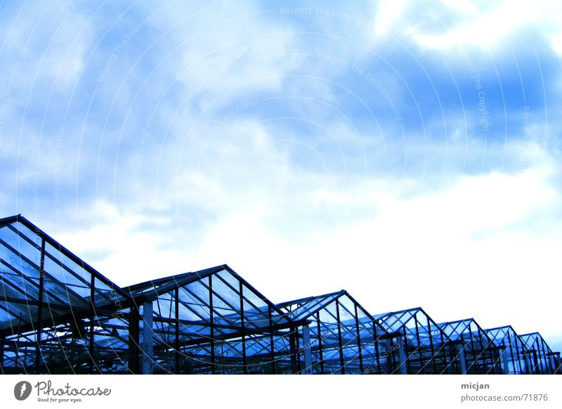who in the glass house ... and throw elephants? House (Residential Structure) Sky Clouds Rain Manmade structures Building Glass Metal Dark Long Blue Black