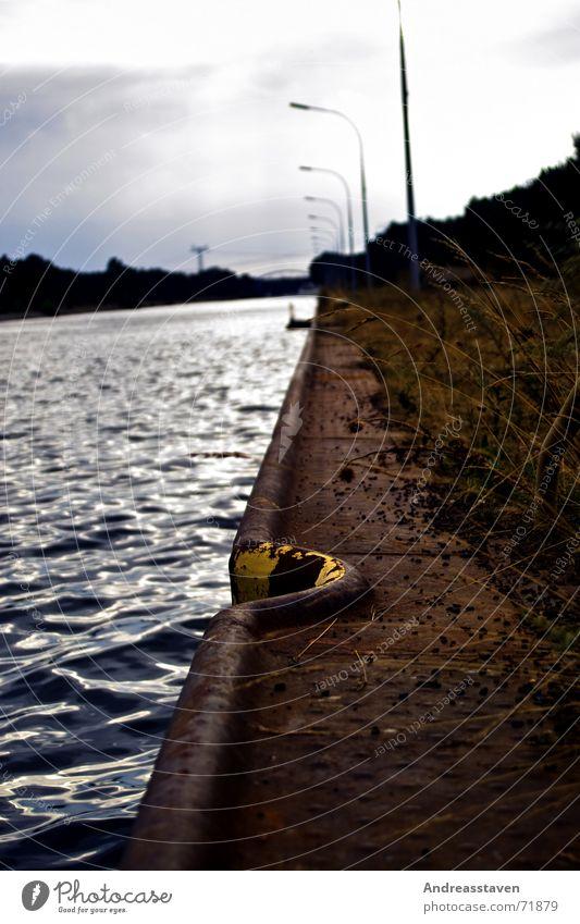 Water Sky Ocean Blue Clouds Yellow Lamp Grass Lake Coast Footbridge Edge