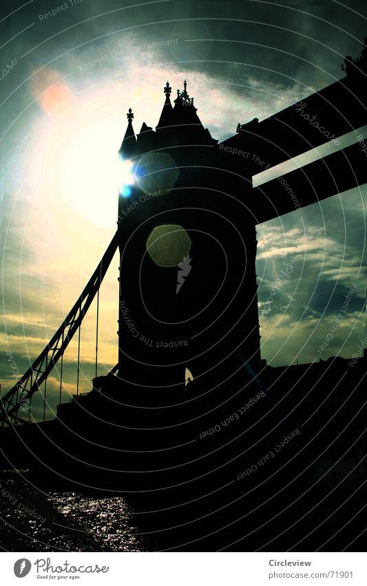 black before your eyes Black Back-light Dark Clouds Sunlight Moody Harrowing England London Great Britain Tourism Glare effect Tower Bridge Sky Historic Bright