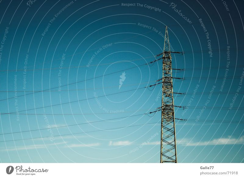 Sky Blue Power Energy industry Electricity Industrial Photography Cable Electricity pylon Transmission lines