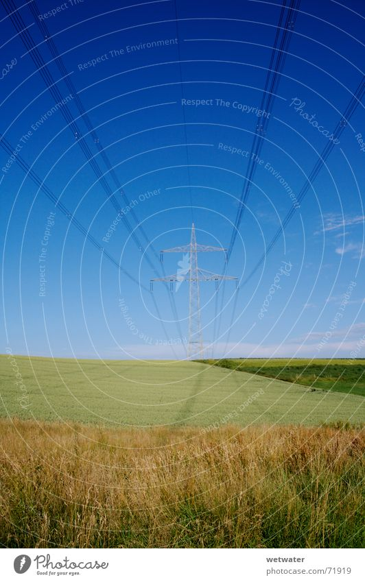powerline Power Nature Electric Electricity Sky Field Hill blue fields Shadow Transmission lines