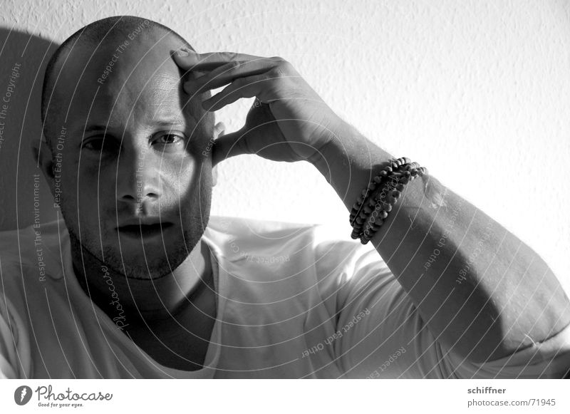 Draghar 4 Man Masculine Think Philosopher Forehead Bald or shaved head Light Underarm Rest on Row ponder Black & white photo Head Face Shadow Arm