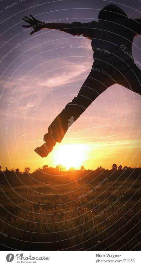 free as a bird Sunset Meadow Grass Clouds Yellow Jump Air Sunbeam flo Sky Blue Human being Star (Symbol)