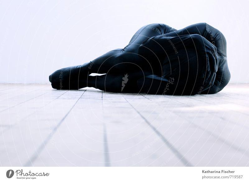 Human being Blue White Calm Black Interior design Gray Exceptional Art Lie Body Modern Esthetic Creativity Floor covering Thin