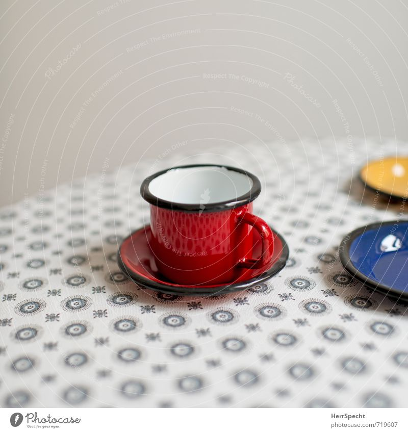 Blue Beautiful Red Yellow Interior design Gray Metal Living or residing Decoration Table Clean Retro Round Cup Tablecloth Enamel