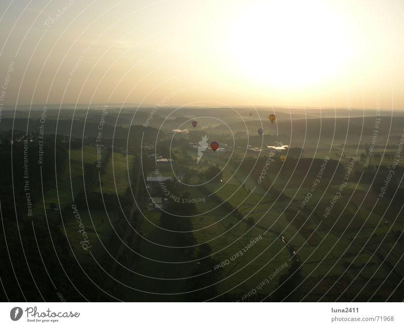 Sky Sun Meadow Landscape Field Fog Driving Hot Air Balloon Beautiful weather Morning fog Fog bank Balloon flight