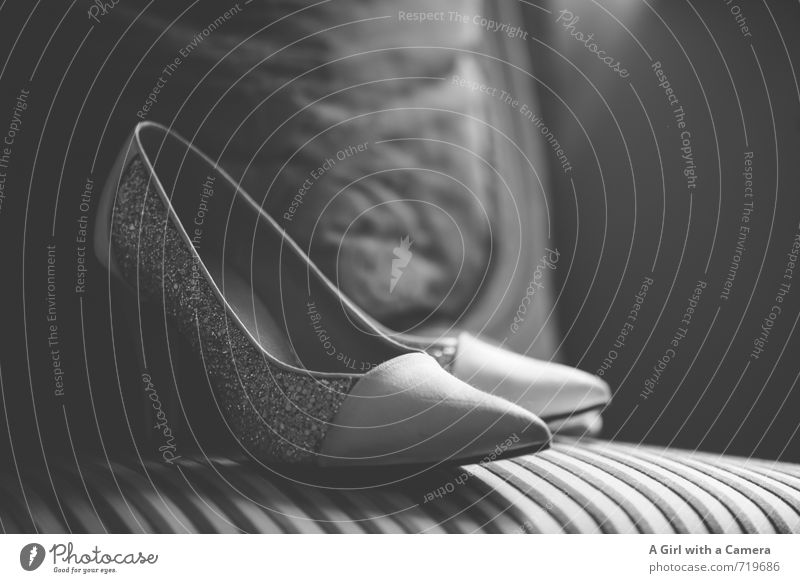 for a special occasion Fashion Cloth Footwear High heels Elegant Hip & trendy Tall Modern Beautiful Wedding ceremony Expensive Black & white photo Interior shot