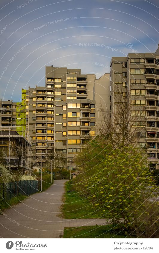 Sunny skyscraper Darmstadt Town Deserted High-rise SME Growth Change Colour photo Multicoloured Exterior shot Copy Space top Evening Reflection Sunlight Sunrise