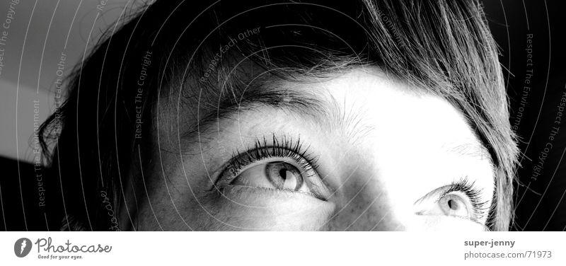 Woman Human being White Face Black Eyes Dark