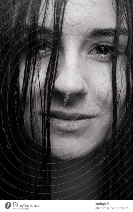 Wet Feminine Hair and hairstyles Face Water Drops of water Rain Natural Black & white photo Studio shot Close-up Portrait photograph Looking into the camera
