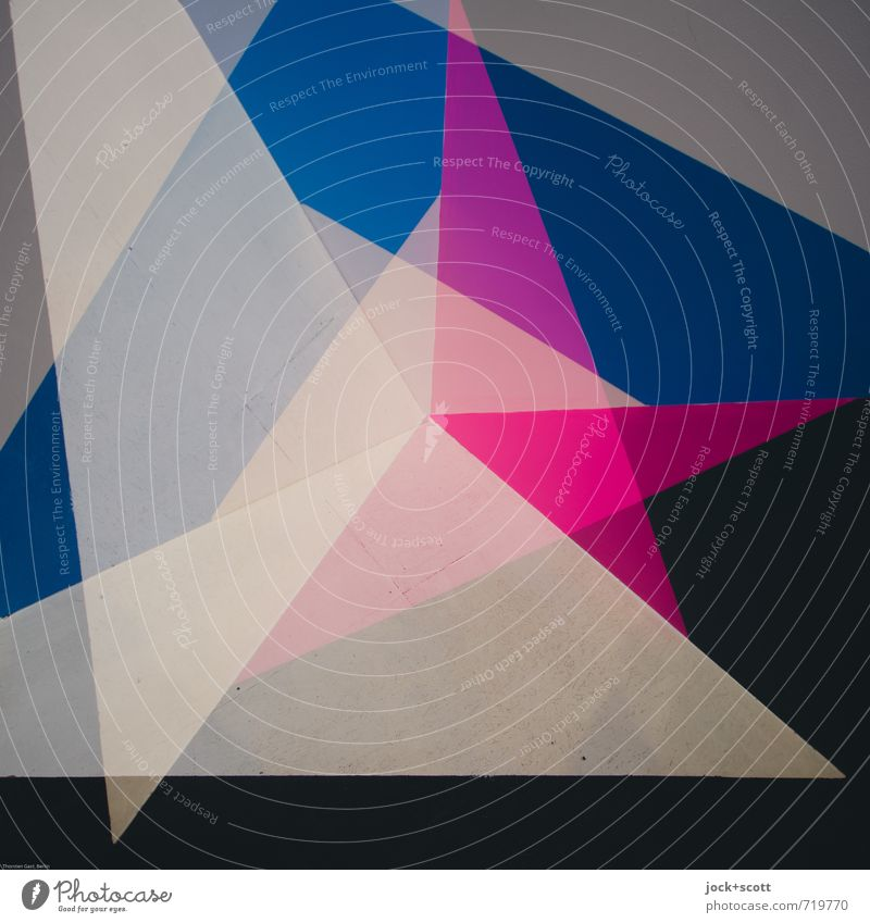 Algol Colour Space Illustration Decoration Triangle Structures and shapes Sharp-edged Blue Gray Pink Black Esthetic Design Creativity Center point Asymmetry