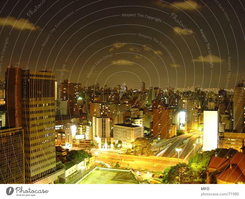 Sao Paulo Night São Paulo Town Horizon Dark Far-off places Lamp High-rise New building Panorama (View) Exterior shot big city Sky Light myriad Street streets
