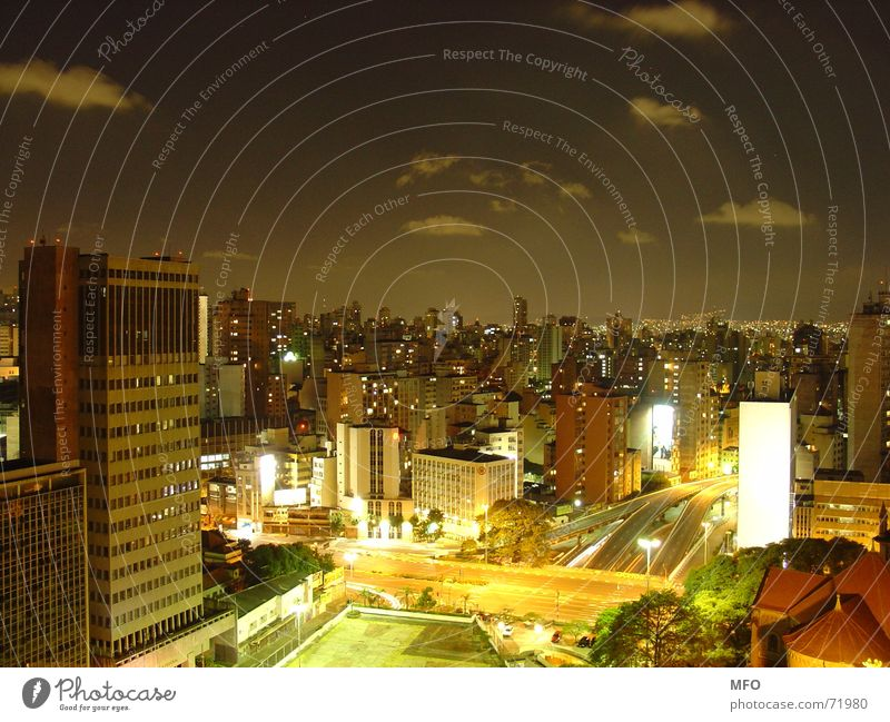 Sky City Far-off places Street Lamp Life Dark South America Night Large High-rise Horizon Energy industry Brazil