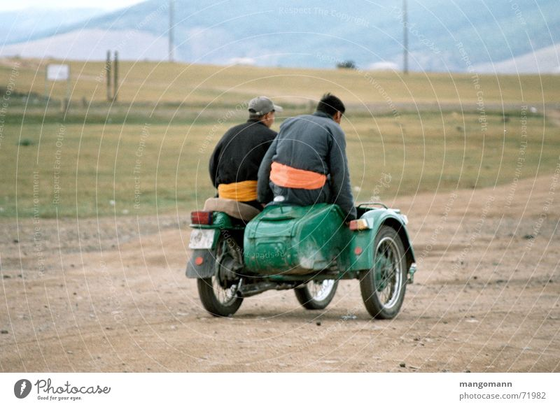 Human being Nature Street Asia Motorcycle Steppe Mongolia Sidecar