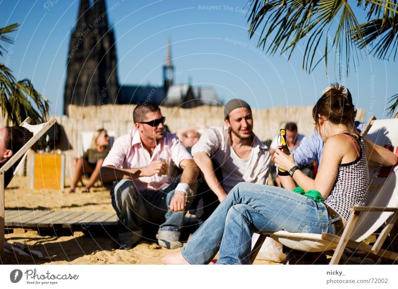 chilling on the skybeach Beach Relaxation Vacation & Travel Palm tree Cologne Mall Town Human being Friendship Drinking Beer Tom Tom Green Crate Landmark Sand