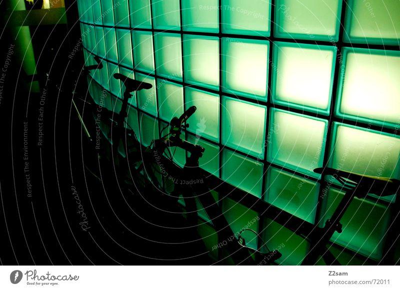 neon bikes Bicycle Mountain bike Stand Break Light Green Round 2 lightwall Stone Window pane Glass Arch two Bicycle handlebars