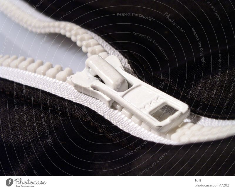 zip Zipper Loop Black White Macro (Extreme close-up) Cloth Clothing Swimsuit Things Metal Open