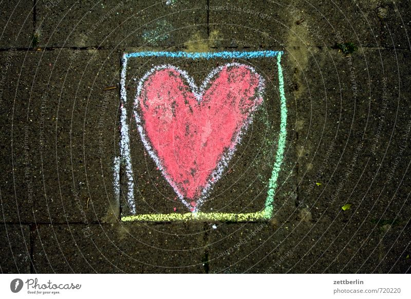 heart Heart Chalk pavement painting Love Romance Spring fever Declaration of love Chalk drawing Children's drawing Red Box Cubbyhole Penitentiary Captured Earth