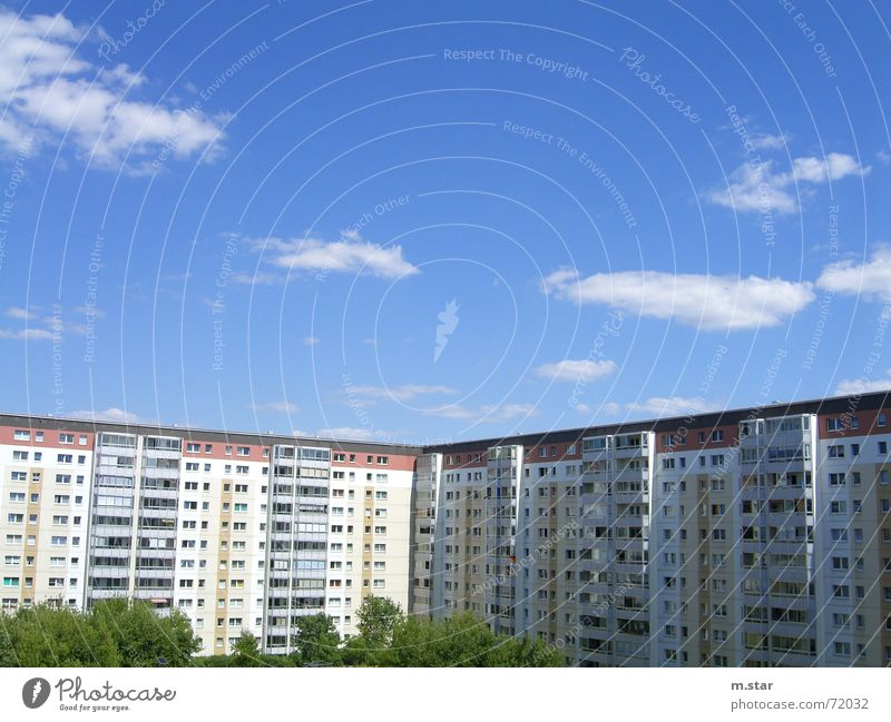 Sky Blue House (Residential Structure) Berlin Window Flat (apartment) Prefab construction Ghetto Residential area