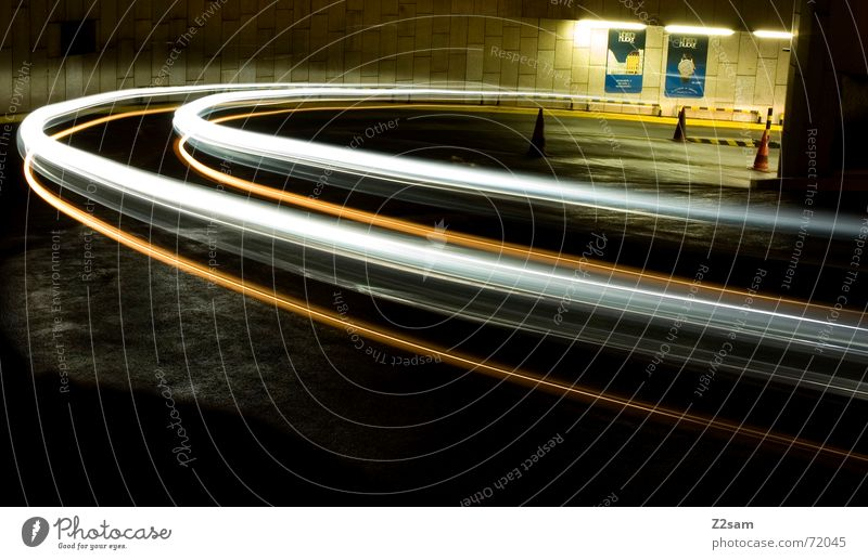 downward Light Stripe Downward Under Long exposure Underground garage Transport Driving Hut Arch Circle Movement Dynamics Street Curve