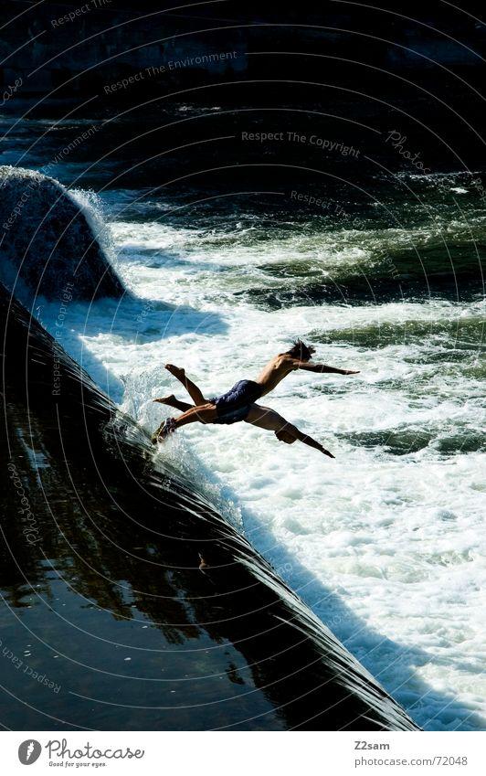 Water Blue Summer Jump Above Movement 2 Together River Level Munich Dynamics Bavaria Stride White crest