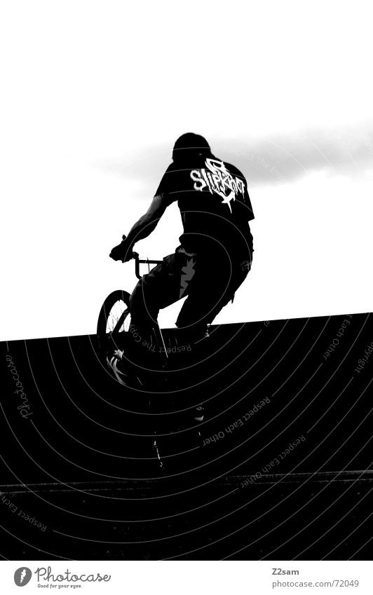 balance in the darkness Contentment Stand Stunt Jump Trick Halfpipe Park Sky Sports Action Bicycle BMX bike alive Funsport Movement Dynamics