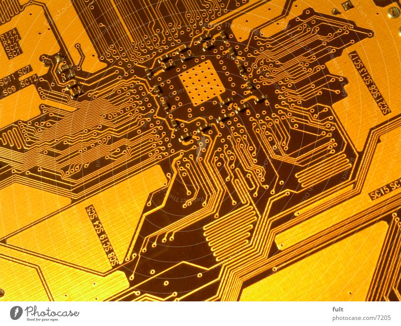 board Circuit board Vessel Future Computer Microchip Transmission lines Electrical equipment Technology Gold Railroad Macro (Extreme close-up) Connection