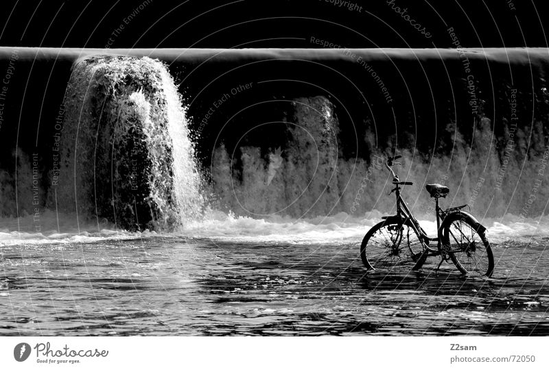water & bicycle? Stand Isar Converse Loneliness Munich Wet White crest Forget Water Bicycle River discarded Waterfall Inject
